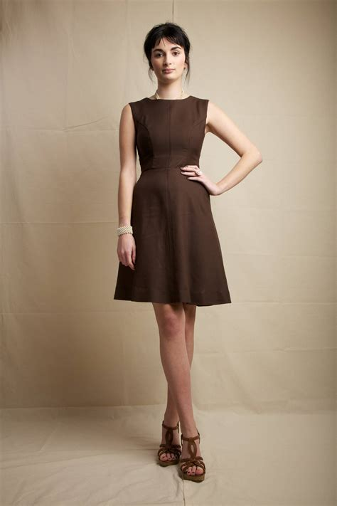 The Litte Brown Dress Project by S Brown Fit And Flare Dress Brown Suede Wedge