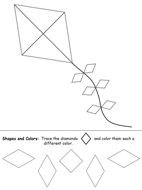 diamond coloring pages preschool shapes recognition practice worksheet diamond april