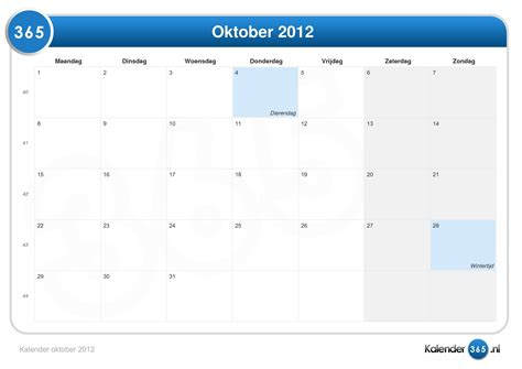 October 2012 Calendar Kalender Oktober 2012