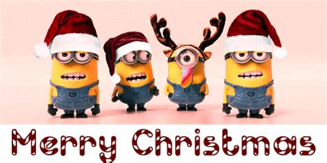 merry christmas minions greeting animated gif