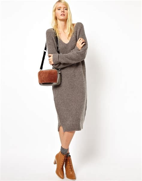 Lq 02 Ress Sweater Yiyo White lyst asos asos white midi sweater dress with vneck in gray