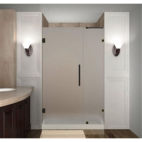 Wd40 On Glass Shower Doors Aston Nautis 40 In X 72 In Completely Frameless Hinged Shower Door With Frosted Glass In