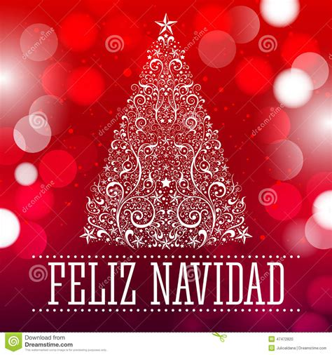 feliz navidad merry christmas spanish text stock vector image