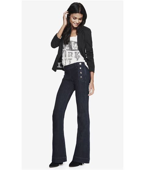 12 Helping Usher The Return Of The Flarebell Bottom by Lyst Express Mid Rise Bell Flare Sailor Jean In Blue