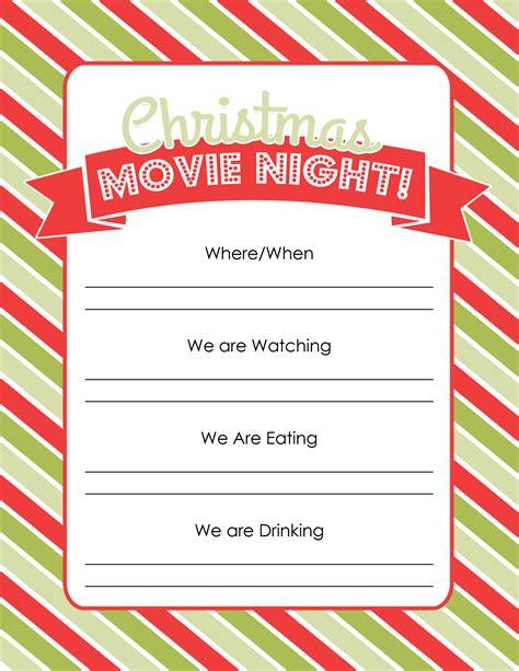 printable christmas movie list holiday traditions christmas movie night free printable