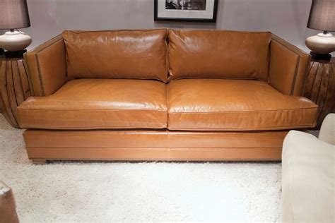 mitchell gold carson sofa the keaton 79 quot leather tailored sofa from mitchell gold
