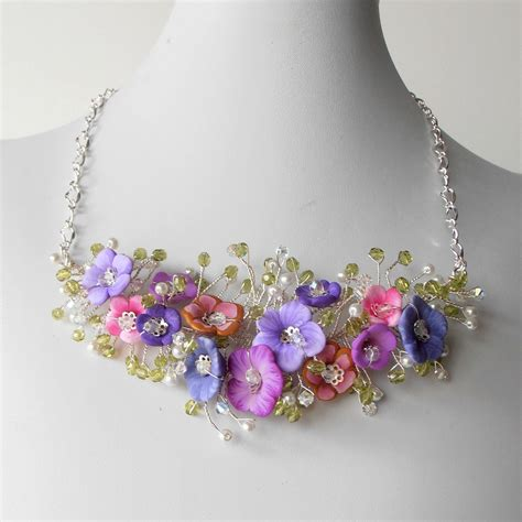 Bridal Wire by Bridal Jewelry Flower Necklace Pink And Purple Beaded Wire