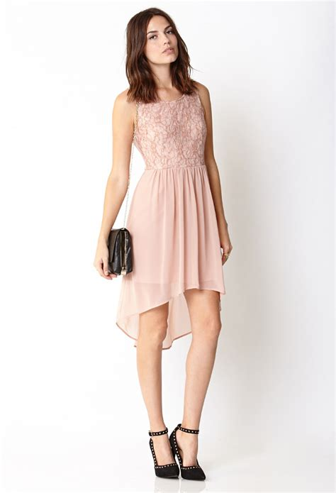 Forever21 Lace Dress forever 21 contemporary whimsical lace dress in pink lyst