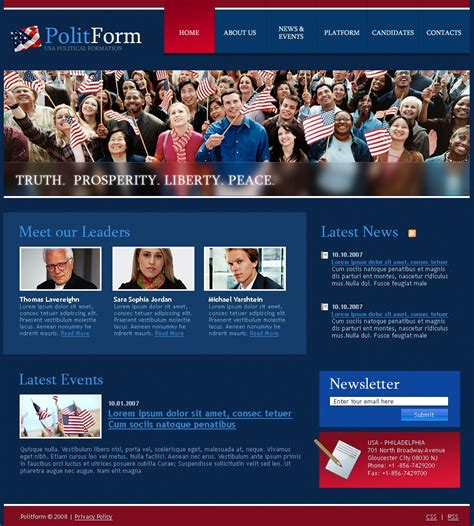 templates for political website political party website template 19937