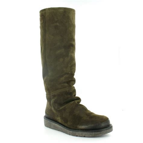 bronx 13285 womens suede leather knee high pull up boots