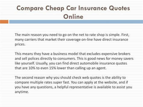 compare cheap car insurance quotes  powerpoint