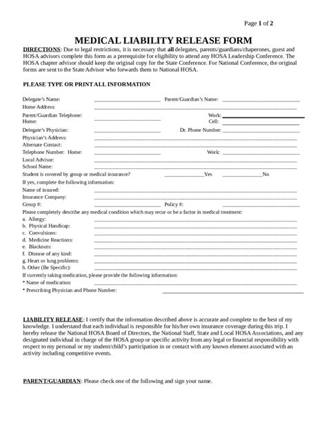 release of liability agreement template free liability release form template accountant assistant