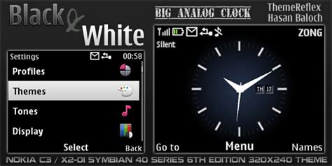 themes big clock black white clock theme for nokia c3 x2 01 themereflex