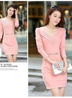 Dress Mini Bodycon Pesta Pink Hitam Katun Murah Import Cina dress korea lengan panjang modis jual model