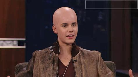 jimmy kimmel hair loss justin bieber gets shiny bald head on jimmy kimmel