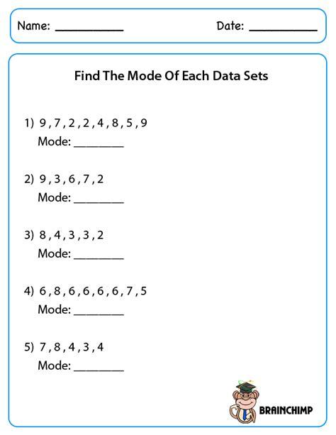 Median Mode Worksheets by Median Mode Brainchimp