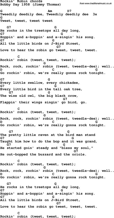 printable lyrics to rockin robin rockin robin song download