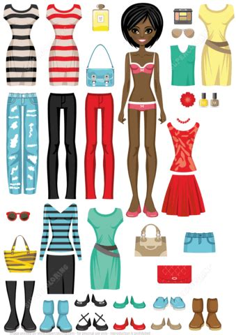 African American Woman Paper Doll With Set Of Clothes Free Printable Papercraft Templates American Doll Clothes Templates