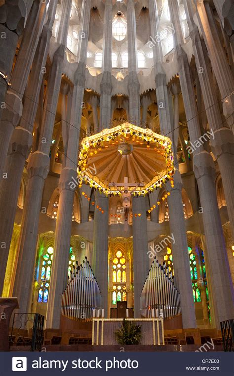 sagrada familia interior altar with the prospectus of the choir organ interior of