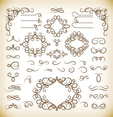 calligraphic vintage design elements vector set vector set of vintage calligraphic design elements free
