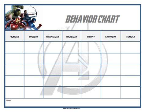 printable monthly behavior calendar avengers behavior chart free printable
