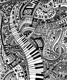 Bedroom For Coloring classical music doodle with piano keyboard drawing by