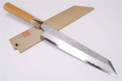 how to use a japanese kitchen knife sanjo city yoshihiro blue steel damascus kiritsuke sushi sashimi