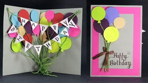 How To Make A Birthday Card Out Of Construction Paper - diy birthday card how to make balloon bash birthday card