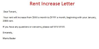 Rent Increase Letter Nevada Rent Increase Letter Sle Rent Increase Form Rent