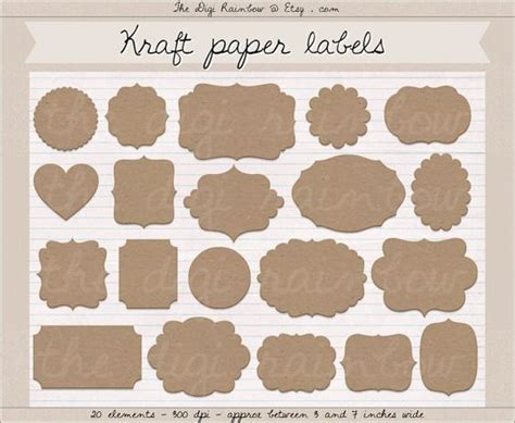 printable kraft paper labels kraft paper label clipart digital cardboard labels kraft