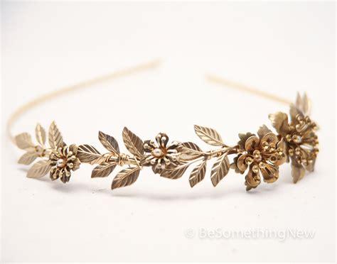 leaf headband grecian brassy gold metal leaf and flower