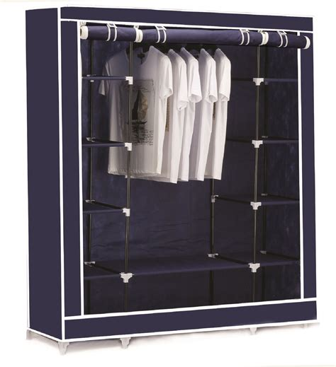 clothes cupboard triple canvas clothes wardrobe cupboard hanging rail with