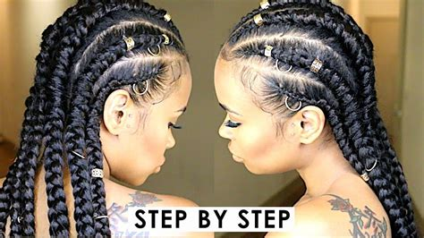 step by step instructions for natural hair easy step by step jumbo feed in cornrow braids natural