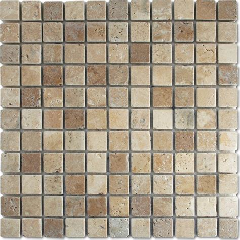antique white brown tumbled wall floor mosaic