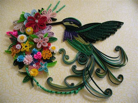 Quilling Paper Craft Ideas - beautiful quilled hummingbird and flower arrangement by