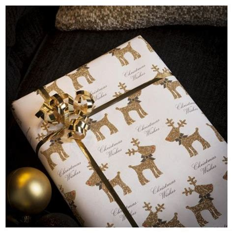 buy tesco glittered reindeer christmas wrapping paper 3m
