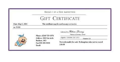 babysitting gift voucher template search results for baby sitting voucher template free