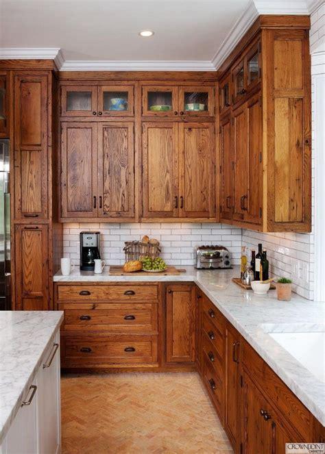 image result  oak cabinets  white quartz countertop kitchen decor   rustic
