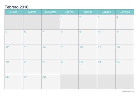 Calendario Febrero 2018 Calendario Febrero 2018 Para Imprimir Icalendario Net