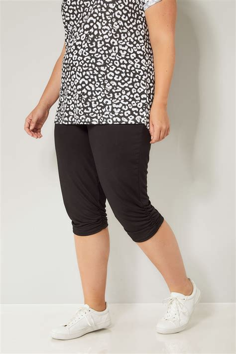 black cropped harem trousers plus size 16 to 36