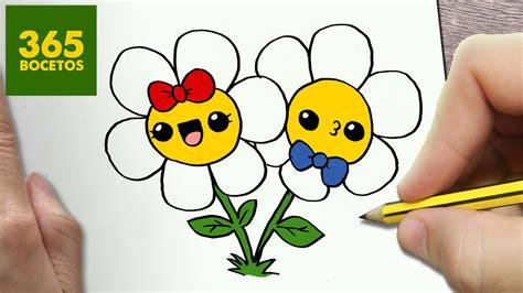 imagenes de flores faciles como dibujar flores kawaii paso a paso dibujos kawaii