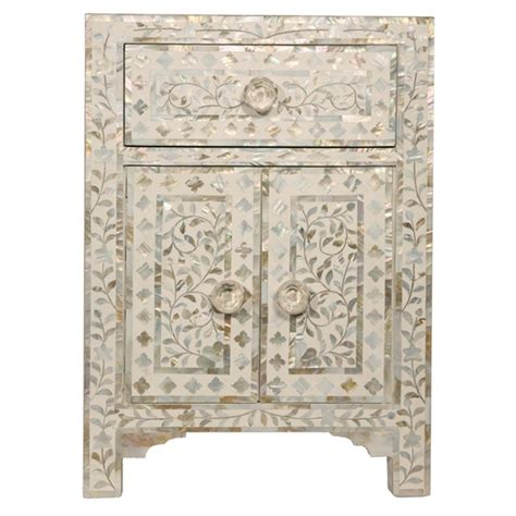 Handmade Indian Furniture - indian handmade 1 drawer and 2 door nacre bedside cabinet