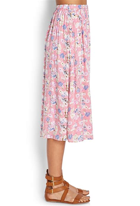forever 21 buttoned floral midi skirt in pink lyst