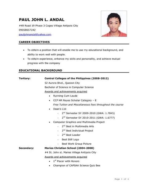 Sample Resume Objectives Ojt Students by Sample Resume For Ojt Engineering Students Best Resume