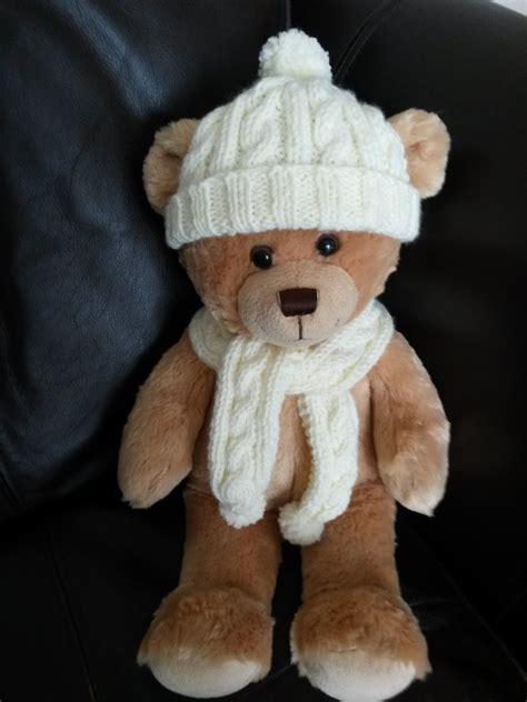 pattern teddy bear clothes linmary knits teddy bear aran hat and scarf