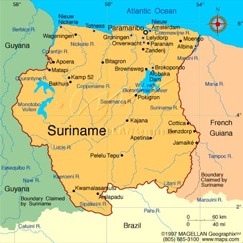 where is suriname on the map suriname map suriname mappery