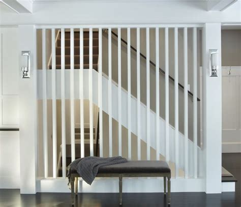 white painted slat room divider staircase contemporary