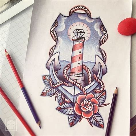 rose themed tattoo red and blue nautical themed tattoo design i might steal