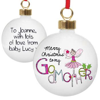 christmas gifts for godparents exclusive godmother personalised tree bauble born gifted