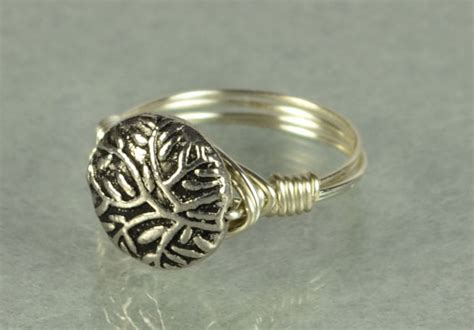 wire wrapped sterling silver ring with tree branch